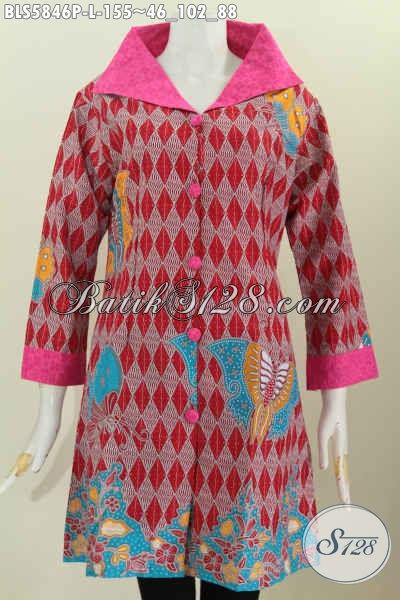 Blus Batik Keren Buat Wanita Muda Dan Dewasa, Baju Batik Masa Kini Model Kerah Lebar Untuk Penampilan Lebih Istimewa [BLS5846P-L]