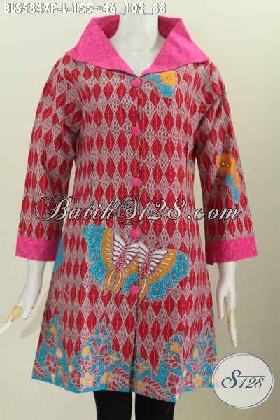 Batik Blus Solo Kwalitas Bagus Harga Terjangkau, Baju Batik Kerah Lebar Motif Mewah Untuk Tampil Makin Istimewa, Size L