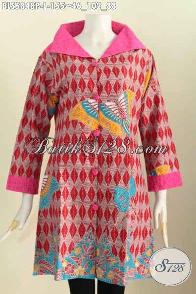 Baju Blus Batik Elegan Kerah Lebar, Pakaian Batik Untuk Kerja Wanita Kantoran Proses Printing Harga 10 Ribuan Saja, Size L