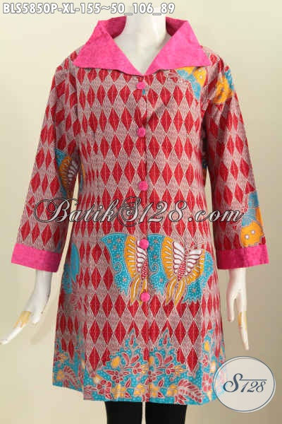 Jual Baju Batik Wanita Dewasa, Hadir Dengan Bahan Halus Perpaduan Embos Lebih Nyaman Di Pakai, Pakaian Batik Berkelas Kerah Lebar Tampil Makin Mewah, Size XL