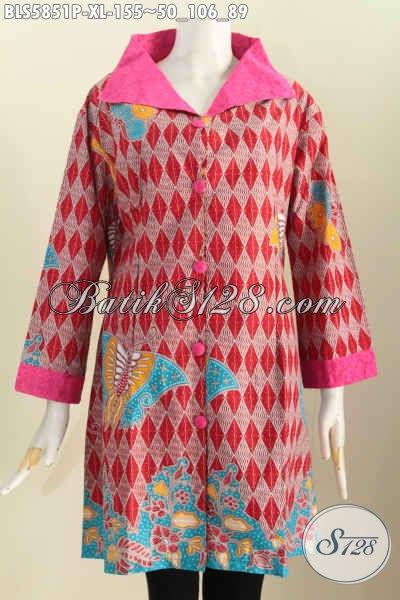Jual Online Baju Blus Istimewa, Pakaian Batik Kerah Lebar Untuk Wanita Dewasa Denagn Motif Berkelas Cocok Untuk Ke Kantor, Size XL