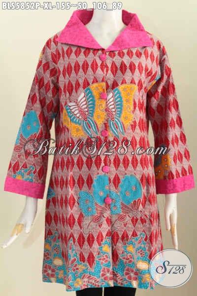 Baju Blus Size XL, Pakaian Batik Kera Lebar Bahan Perpaduan Embos Motif Terkini Proses Printing Di Jual Online 155K