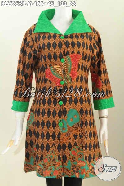 Batik Blus Elegan Desain Mewah Kerah Lebar, Baju Batik Berkelas Proses Printing Motif Kupu Bahan Adem Kombinasi Embos Di Jual Online 150 Ribuan [BLS5853P-M]