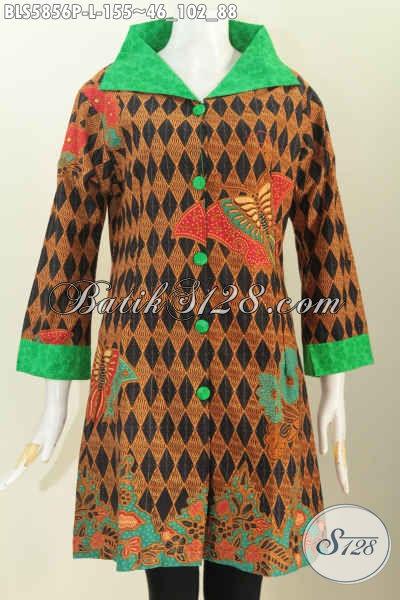 Produk Pakaian Batik Modern, Hadir Dengan Motif Keren Desain Kerah Lebar Bahan Halus Proses Printing Hanya 155K [BLS5856P-L]