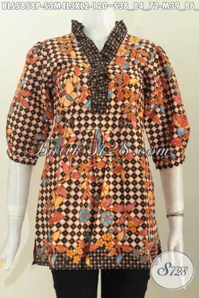 Batik Blus Wanita Terbaru Dengan Desain Kerah Rempel Bahan Halus Motif Trendy Proses Printing Untuk Wanita Muda Dn Dewasa Tampil Beda [BLS5858P-S , M , L , XL]