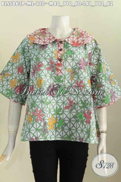 Blus Batik Modern Motif Trendy, Pakaian Batik Printing Halus Khas Jawa Tengah Yang Bikin Wanita Terlihat Keren [BLS5863P-L]