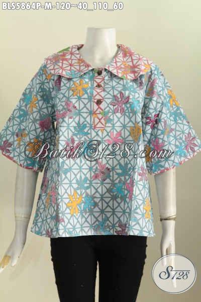 Jual Baju Batik Blus Online, Pakaian Batik Masa Kini Model Kerah Bulat Nan Istimewa, Bisa Untuk Santai Dan Resmi [BLS5864P-M]