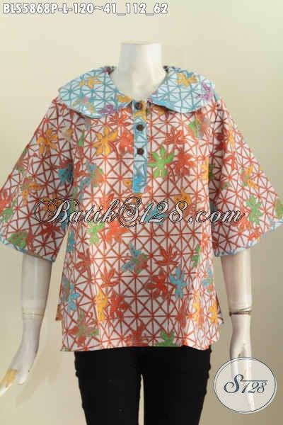 Jual Online Busana Batik Modern Motif Bagus Kwalitas Istimewa Model Kerah Bulat Hanya 120 Ribu, Size L