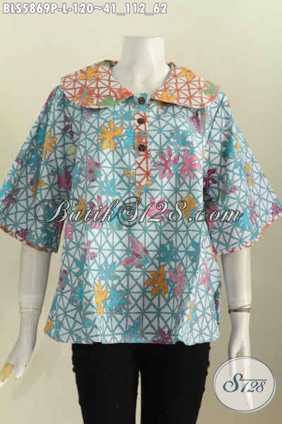 Baju Blus Modern Kerah Bulat, Pakaian Batik Cewek Terkini Bahan Halus Proses Printing Harga 120 Ribu [BLS5869P-L]