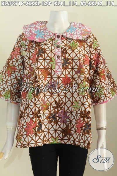 Baju Batik Printing Ukuran Jumbo, Blus Batik Solo Kerah Bulat Bahan Adem Motif Keren Proses Printing Untuk Wanita Gemuk Tampil Stylish, Size XXL
