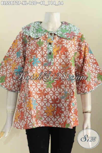 Jual Online Batik Blus Modern, Pakaian Batik Solo Halus Kerah Bulat Motif Printing Harga 120K [BLS5872P-XL]