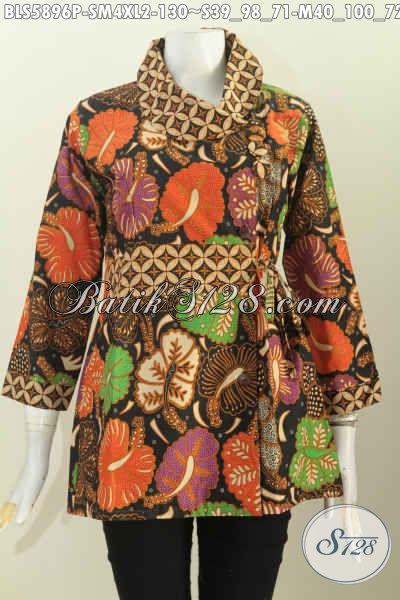 Baju Batik Modis Buat Kerja, Blus Lengan Panjang Motif Trendy Desain Kerah Miring Pake Tali Samping Proses Printing Harga 130K [BLS5896P-XL]