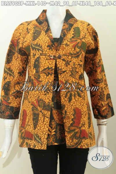 Baju Blus Motif Kupu Kwalitas Bagus Harga Murah, Busana Batik Desain Jas Buatan Solo Untuk Seragam Kerja Yang Berkelas [BLS5902P-M]