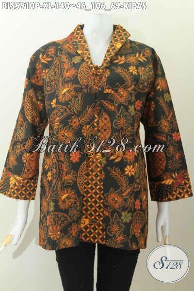 Blus Batik Mewah Harga Murah Model Jas Motif Kipas Proses Printing Hanya 140 Ribu [BLS5910P-XL]