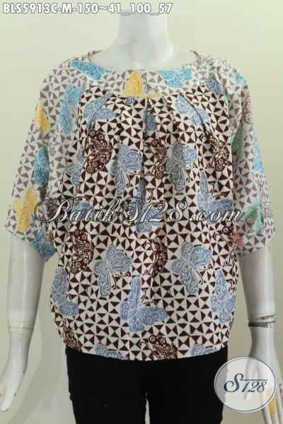 Jual Online Batik Blus Modern Untuk Santai Dan Hangout, Busana Batik Cap Motif Bagus Harga 150K [BLS5913C-M]