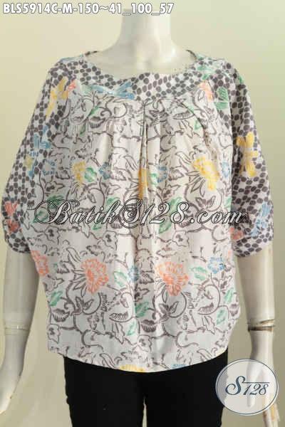 Jual Baju Batik Blus Modern Desain Tanpa Kerah, Pakaian Batik Solo Untuk Tampil Gaya Dan Mempesona [BLS5914C-M]