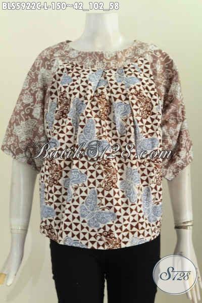 Jual Online Batik Keren Desain Tanpa Krah, Blus Batik Wanita Muda Dan Dewasa Proses Cap Warna Elegan Tampil Lebih Cantik Mempesona [BLS5922C-L]