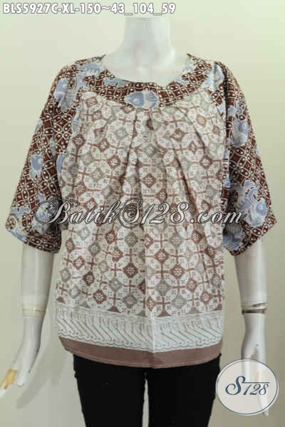 Busana Batik Nan Istimewa, Pakaian Batik Halus Model Tanpa Kerah Buat Wanita Dewasa Terlihat Mempesona [BLS5927C-XL]