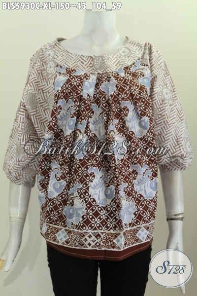 Busana Batik Modern Khas Jawa Tengah Model Tanpa Krah Untuk Wanita Dewasa Size XL Motif Unik Proses Cap Hanya 100 Ribuan