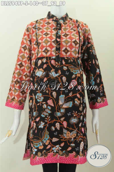 Baju Blus Keren Model Lengan Panjang Kerah Shanghai Kwalitas Istimewa Proses Printing Harga 140K [BLS5949P-S]