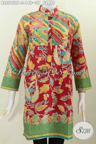 Blus Batik Wanita Muda Model Lengan Panjang Modis Motif Mewah Proses Printing Harga 140K, Cocok Untuk Acara Resmi, Size S