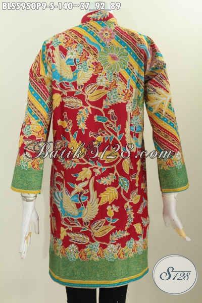 Baju Blus Batik Wanita Muda, Pakaian Batik Kerah Shanghai Lengan Panjang Motif Mewah Proses Printing Hanya 140K Tampil Terlihat Berkelas [BLS5950P-S]