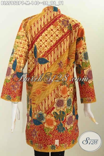 Blus Kerah Shanghai Istimewa, Baju Batik Halus Lengan Panjang Motif Trendy Untuk Tampil Gaya Proses Printing Harga 100 Ribuan [BLS5952P-M]