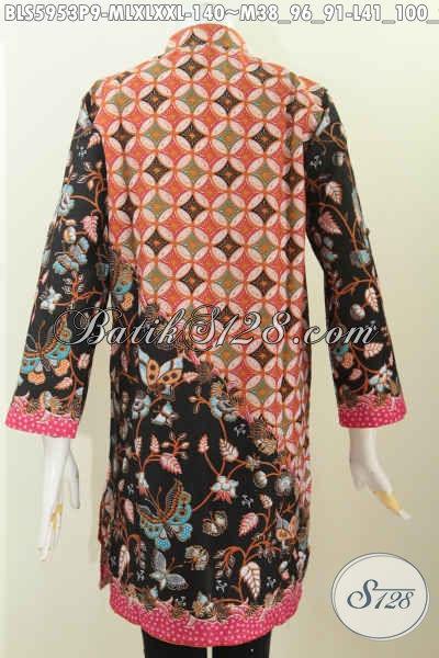 Blus Batik Lengan Panjang, Baju Batik Terusan Kerah Shanghai Desain Mewah Bahan Adem Proses Printing Tampil Lebih Elegan, Size M – L – XL – XXL