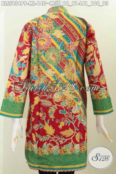 Batik Blus Keren, Baju Batik Istimewa, Busana Batik Berkelas Untuk Penampilan Lebih Gaya Model Kerah Shanghai Lengan Panjang, Pas Buat Ke Kantor [BLS5954P-M]