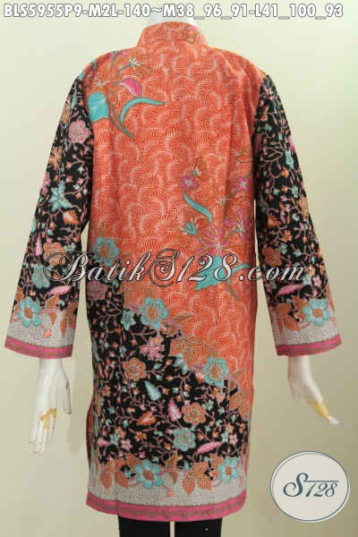 Jual Online Baju Blus Istimewa Kerah Shanghai Motif Mewah Bunga-Bunga Proses Printing Bahan Adem Untuk Penampilan Lebih Berkelas, Size M – L
