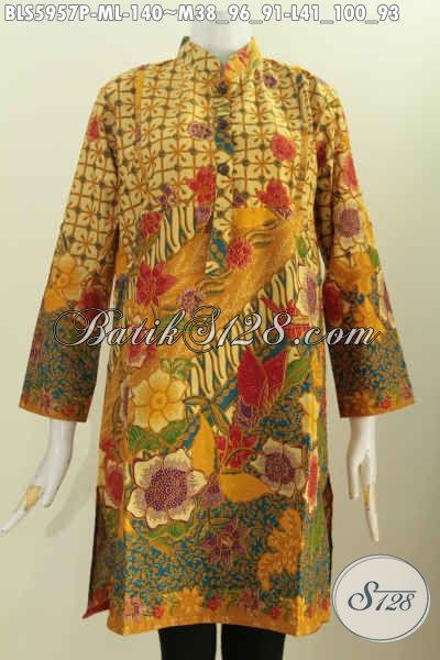 Pakaian Batik Masa Kini Buat Wanita Muda Size M, Blus Terusan Motif Mewah Proses Printing Model Lengan Panjang Kerah Shanghai Cocok Baut Acara Formal
