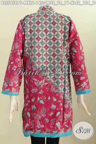 Sedia Pakaian Batik Wanita Terbaru, Hadir Dengan Desain Kerah Shanghai Lengan Panjang, Pas Untuk Wanita Berhijab, Bahan Adem Motif Unik Proses Printing 100 Ribuan [BLS5958P-XL]