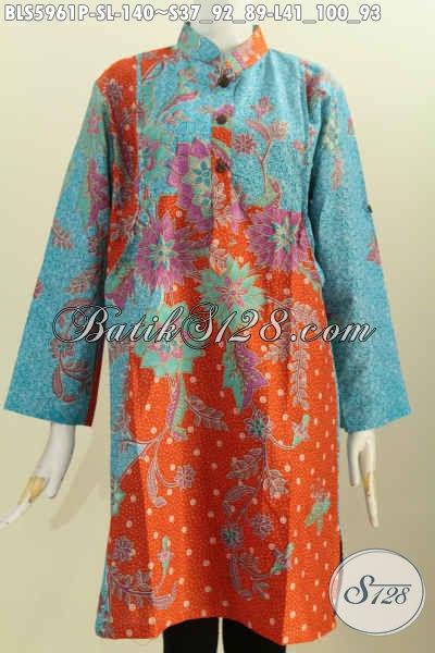 Blus Batik Jawa Terkini, Pakaian Batik Lengan Panjang Kerah Shanghai Trend Mode 2019, Baju Blus Berkelas Motif Printing, Di Jual Online 140K [BLS5961P-S , L]
