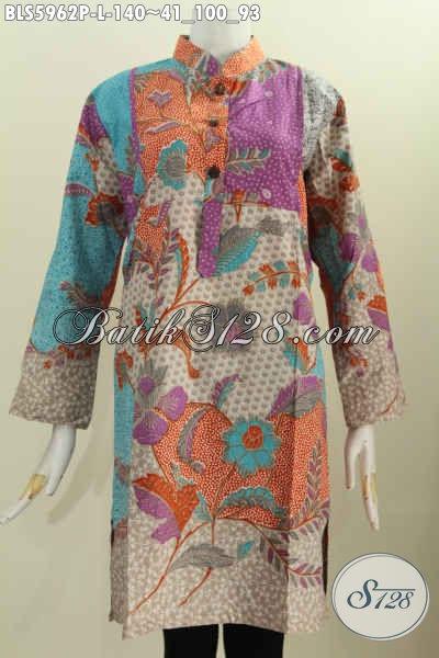 Jual Online Blus Batik Keren, Pakaian Batik Jawa Tengah Halus Kerah Shanghai Model Lengan Panjang Motif Terkini Proses Printing Harga Murmer [BLS5962P-L]