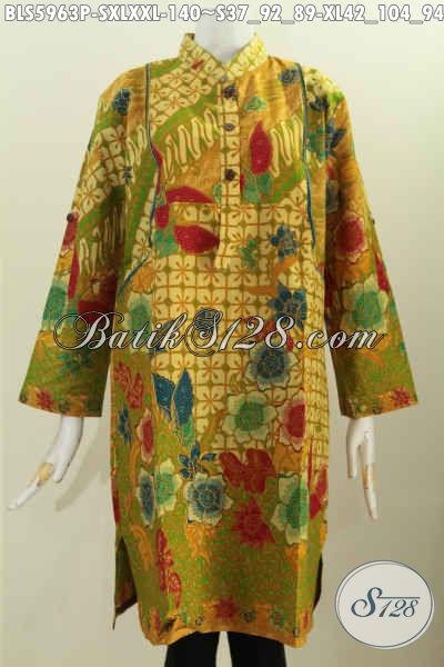 Sedia Blus Kerah Shanghai Lengan Panjang, Baju Batik Keren Bahan Adem Motif Mewah Proses Printing Harga Terjangkau [BLS5963P-S , XL]
