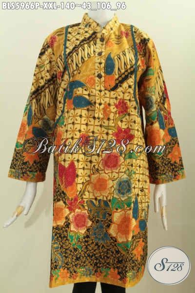 Jual Online Batik Blus 3L, Busana Batik Kerah Shanghai Lengan Panjang Bikin Penampilan Lebih Berkelas, Size XXL