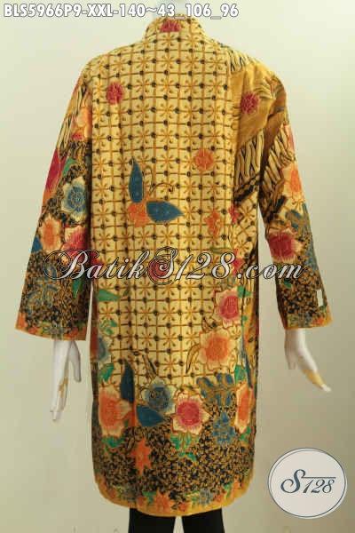 Blus Batik Elegan Cocok Buat Kerja Dan Acara Resmi, Model Kerah Shanghai Lengan Panjang Motif Mewah Proses Printing Untuk Tampil Istimewa [BLS5966P-XXL]