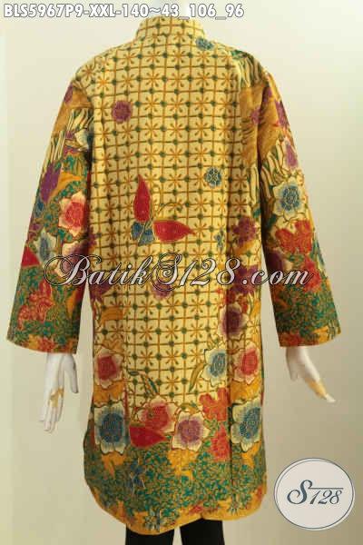 Baju Batik Jumbo Motif Elegan, Blus Batik Kerah Shanghai Lengan Panjang Bahan Adem Proses Printing Buat Wanita Gemuk, Cocok Buat Santai Dan Resmi [BLS5967P-XXL]