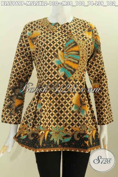 Blus Batik Terbaru Untuk Wanita Muda, Baju Batik Lengan Panjang Desain Karet Belakang Resleting Depan, Size M – L – XL