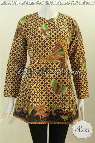 Baju Blus Elegan Motif Klasik, Baju Batik Atasan Cewek Pake Karet ...