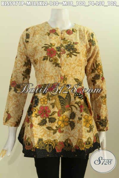 Batik Blus Halus Motif Mewah Proses Printing, Baju Batik Lengan Panjang Karet Belakang Resleting Depan Tampil Makin Menawan, Size L