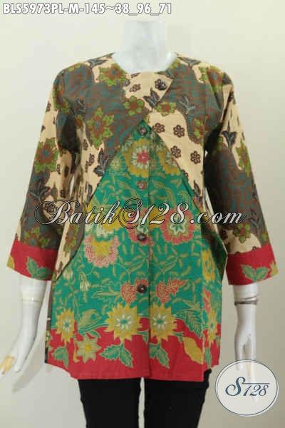Sedia Blus Batik Solo Model Terbaru Dengan Kombinasi Rompi, Baju Batik Lengan Panjang Motif Bagus Proses Printing Lasem 100 Ribuan [BLS5973PL-M]