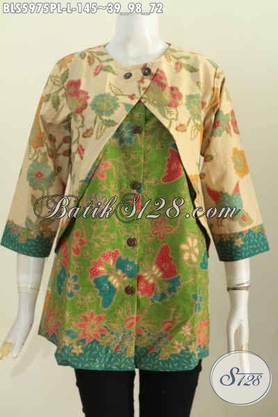 Baju Blus Batik Printing Lasem Kwalitas Halus Model Lengan Panjang Kombinasi Rompi Motif Mewah Harga 145K [BLS5975PL-L]