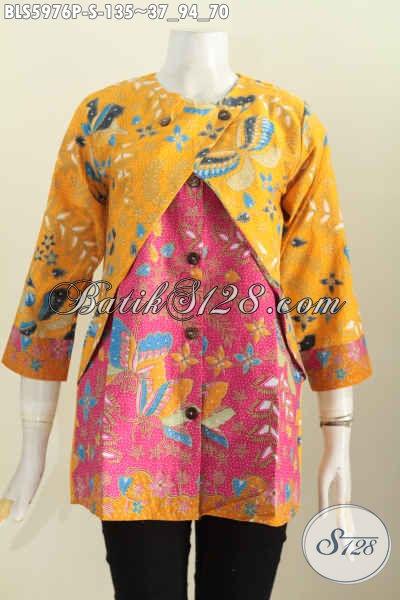 Baju Blus Batik Kuning Kombinasi Pink Baju Batik Wanita Muda