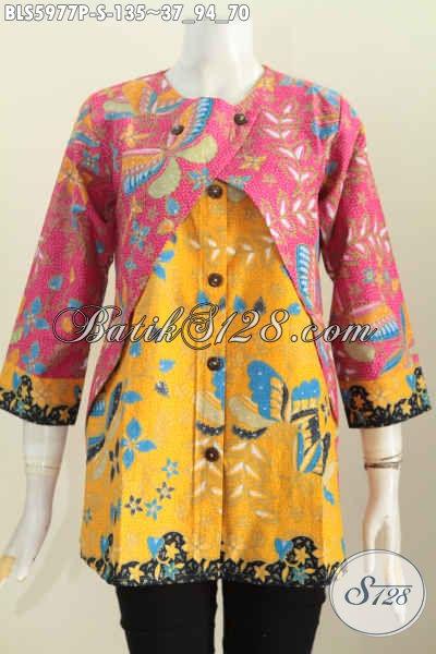 Sedia Pakaian Batik Solo Nan Istimewa, Blus Lengan Panjang Kombinasi Rompi Bahan Adem Motif Keren Proses Printing Harga 100 Ribuan [BLS5977P-S]