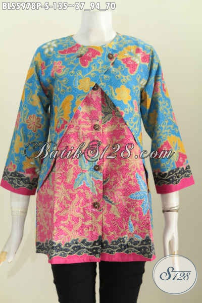 Busana Batik Blus Lengan Panjang Motif Bagus, Blus Batik Dual Warna, Baju Batik Kombinasi Rompi Proses Print, Bisa Buat Ke Kantor [BLS5978P-S]