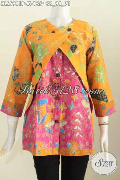 Sedia Baju Blus Lengan Panjang Kombinasi Kuning Dan Merah Jambu, Baju Batik Kombinasi Rompi Untuk Kerja Dan Ke Pesta [BLS5981P-M]