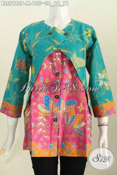 Baju Batik Solo Model Terbaru Blus Batik Lengan Panjang Kombinasi