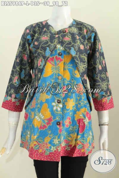 Pusat Baju Batik Online Jual Blus Batik Kombinasi Rompi Model