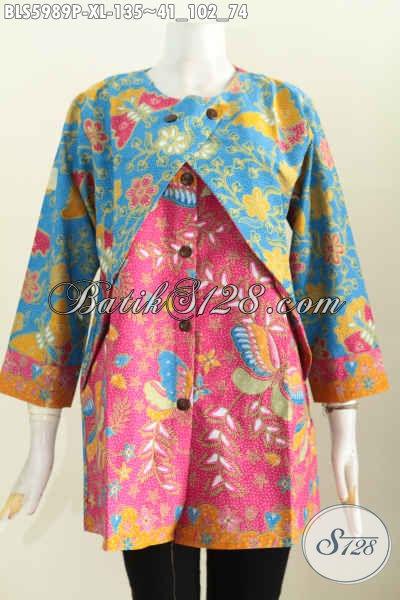 Baju Batik Wanita Dewasa, Pakaian Batik Halus Motif Keren Dual Warna Model Lengan Panjang Kombinasi Rompi, Pas Banget Buat Ke Kantor [BLS5989P-XL]